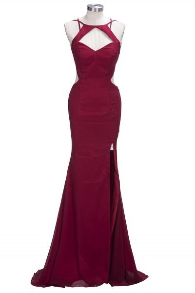 VICTORIA | Mermaid Sleeveless Long Cutouts Side Slit Burgundy Prom Dresses_1