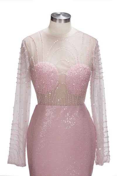TATUM   Mermaid Long Sleeves Appliques Prom Dress with Pink Beadings_4