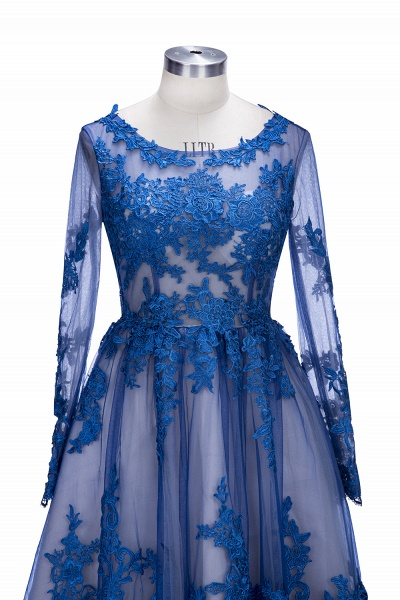 SELINA | A-line Short Scoop Long Sleeves Appliued Tulle Prom Dresses_7