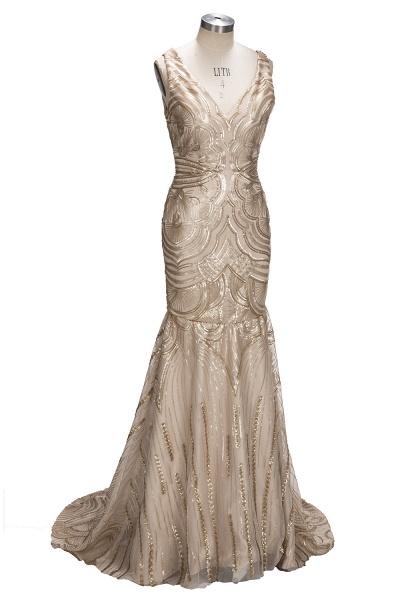TANYA | Mermaid V-neck Sleeveless Long Champagne Sequins Prom Dresses_4