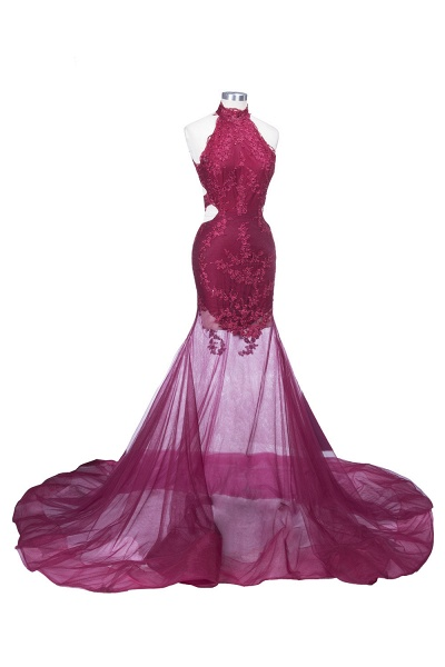 SALLIE | Mermaid High-Neck Burgundy Sheer-Tulle Lace Appliques Prom Dresses_1