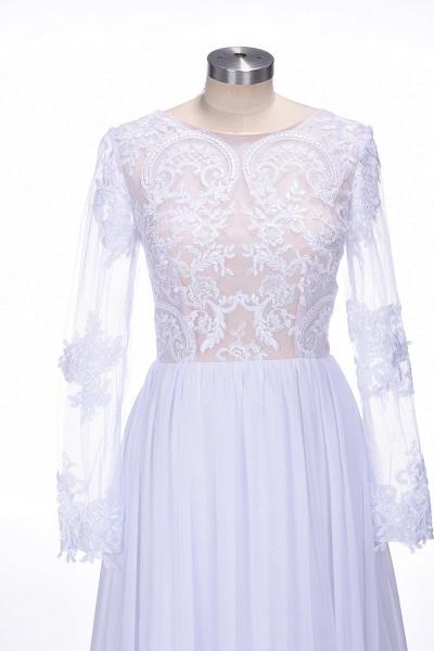 Long Sleeves Lace Appliques A-line Bridesmaid Dress_5