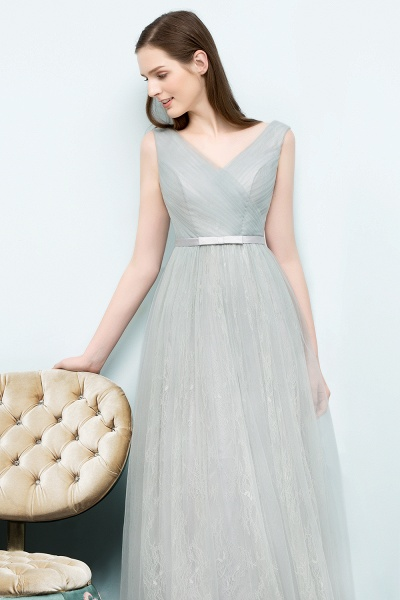 V-neck Lace A-line Floor Length Bridesmaid Dress_8
