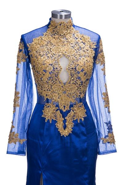 SAL   Mermaid Long Sleeves Front Split Appliques Prom Dresses_6