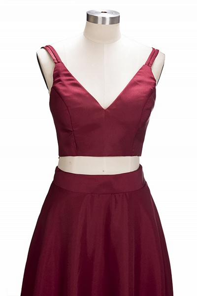 THOMASINA | A-line Sleeveless Two-Piece Spaghetti Straps Burgundy Prom Dresses_4