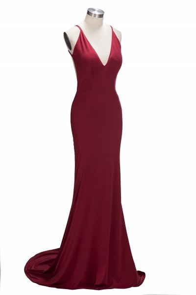 VIDA | Mermaid Long Deep V-Neck Spaghetti Straps Burgundy Prom Dresses_4