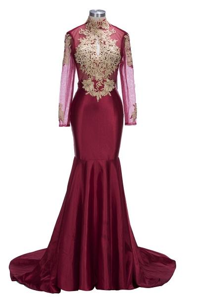 THELMA   Mermaid High Neck Long Sleeves Floor Length Appliqued Prom Dresses_5