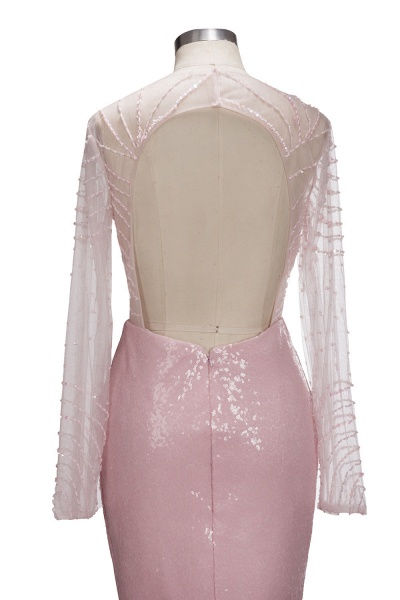 TATUM | Mermaid Long Sleeves Appliques Prom Dress with Pink Beadings_7