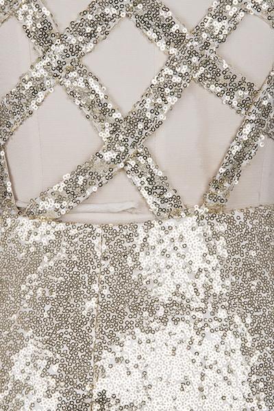 VIOLA   Sheath V-neck Long Split Sequined Champagne Prom Dresses_5