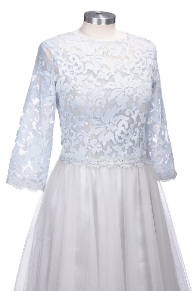 THEA   A-line Long Sleeves Short Lace Appliques Tulle Prom Dresses_5