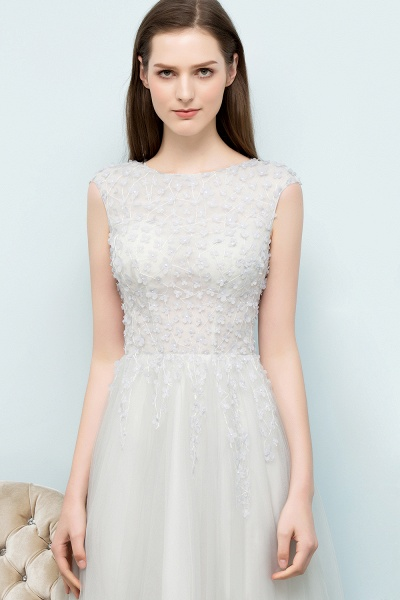 Modest Jewel Tulle A-line Evening Dress_8