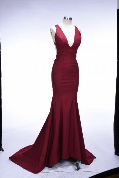 TESS | Mermaid V-neck Sleeveless Floor Length Burgundy Prom Dresses_4