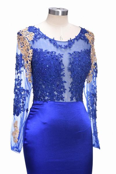 SARAH | Mermaid Long Sleeves Gold-Appliques Sheer Navy Blue Prom Dresses_7