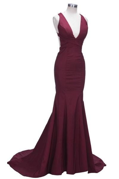 TESS | Mermaid V-neck Sleeveless Floor Length Burgundy Prom Dresses_7