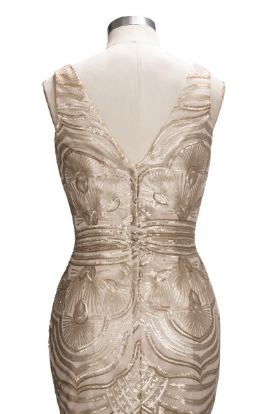 TANYA | Mermaid V-neck Sleeveless Long Champagne Sequins Prom Dresses_6