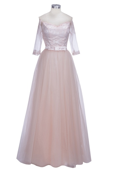 SABINE | A-line Half-Sleeves Long Off-the-shoulder Tulle Lace Prom Dresses_7