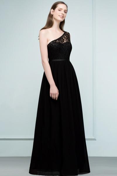A-line Chiffon Lace One-shoulder Floor-length Bridesmaid Dress Floor Length with Sash_4