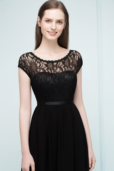 A-Line Chiffon Lace Jewel Short-Sleeves Floor-Length Bridesmaid Dresses with Sash_5