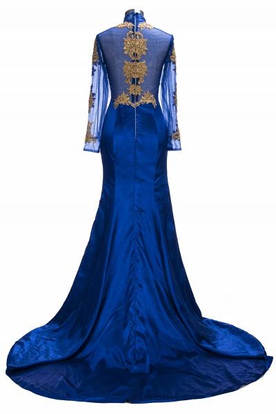 SAL   Mermaid Long Sleeves Front Split Appliques Prom Dresses_3