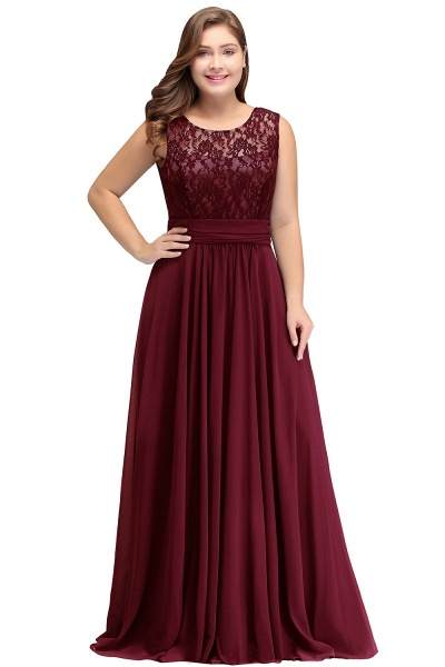 IVY | A-Line Crew Long Plus size Sleeveless Dark Navy Formal Dresses with Lace_1