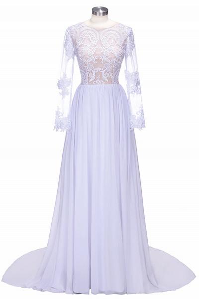 Long Sleeves Lace Appliques A-line Bridesmaid Dress_1