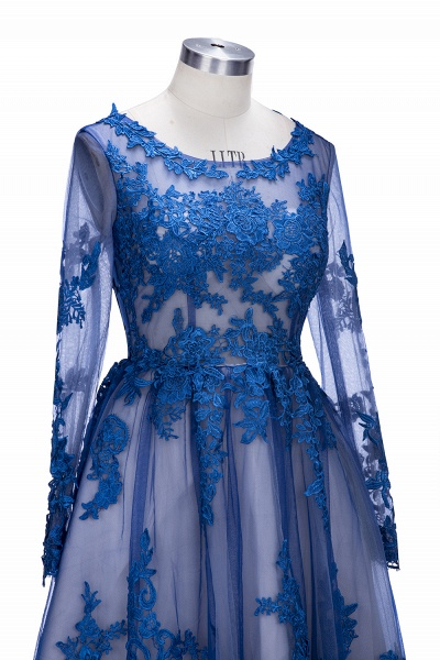 SELINA | A-line Short Scoop Long Sleeves Appliued Tulle Prom Dresses_8