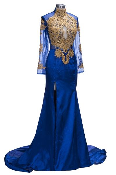 SAL   Mermaid Long Sleeves Front Split Appliques Prom Dresses_5