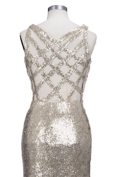 VIOLA   Sheath V-neck Long Split Sequined Champagne Prom Dresses_7