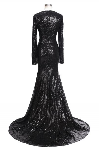 SANDRA | Mermaid V-Neck Long Sleeves Black Sequins Prom Dresses_3