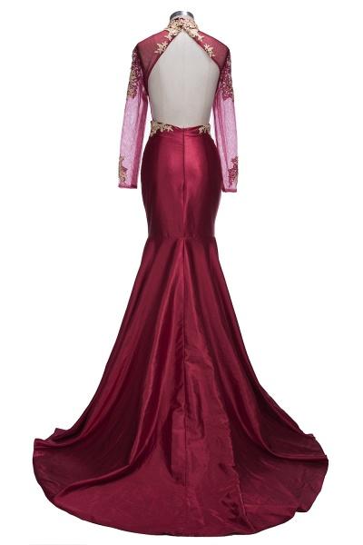 THELMA   Mermaid High Neck Long Sleeves Floor Length Appliqued Prom Dresses_3
