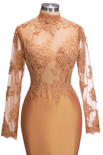 SELENA   Mermaid High Neck Long Appliques Sheer Prom Dresses_5