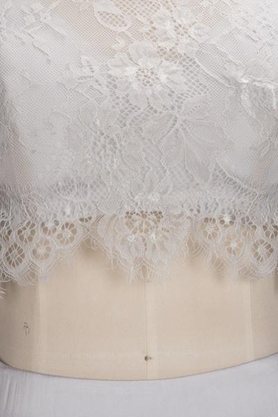 VIVIEN | A-line Two-piece Floor Length Lace Top Prom Dresses_4