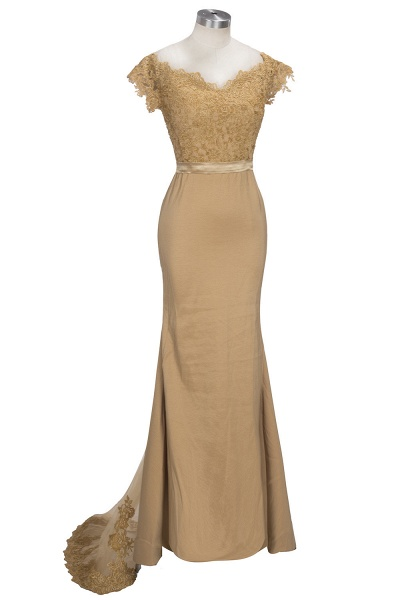 V-neck Short Sleeves Lace Mermaid Floor Length Bridesmaid Dress_7