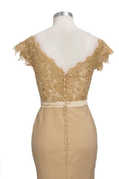 V-neck Short Sleeves Lace Mermaid Floor Length Bridesmaid Dress_6