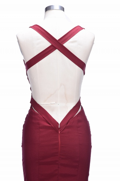 TESS | Mermaid V-neck Sleeveless Floor Length Burgundy Prom Dresses_10