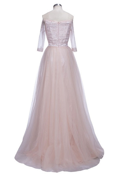 SABINE | A-line Half-Sleeves Long Off-the-shoulder Tulle Lace Prom Dresses_3