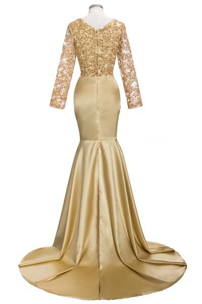 THEODORA | Mermaid Long Sleeves Lace Appliques Sequins Prom Dresses_5