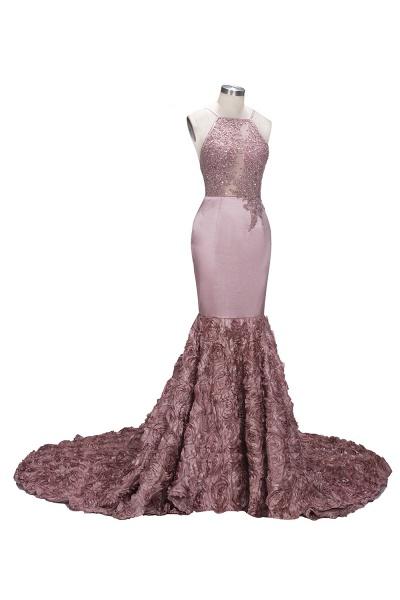 SALOME   Mermaid Long Spaghetti Rose Flowers Pink Beaded Prom Dresses_6