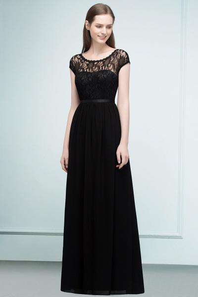 A-Line Chiffon Lace Jewel Short-Sleeves Floor-Length Bridesmaid Dresses with Sash_4