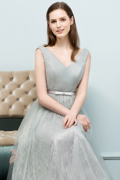 V-neck Lace A-line Floor Length Bridesmaid Dress_9