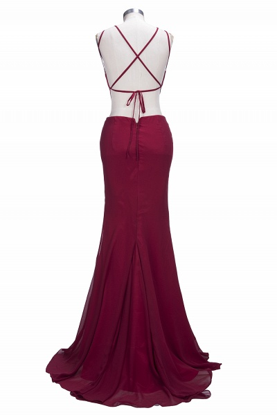 VICTORIA | Mermaid Sleeveless Long Cutouts Side Slit Burgundy Prom Dresses_3