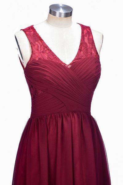 TONI | A-line V-neck Sleeveless Lace Ruffled Chiffon Prom Dresses_7