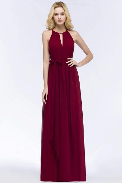 A-line Halter Floor Length Burgundy Bridesmaid Dresses with Bow Sash_9