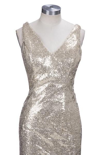 VIOLA   Sheath V-neck Long Split Sequined Champagne Prom Dresses_6