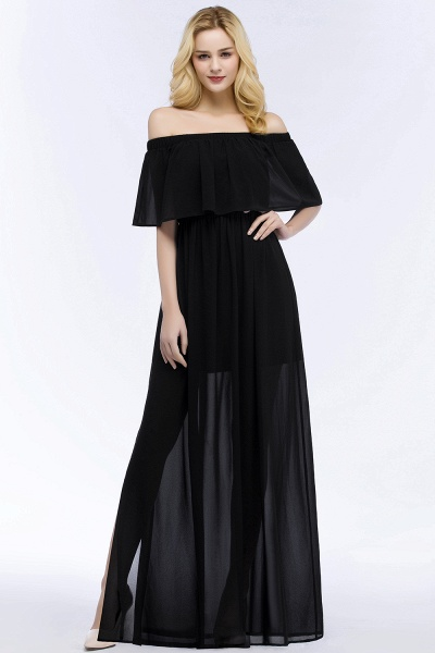 Chic Off-the-shoulder Chiffon A-line Bridesmaid Dress_2