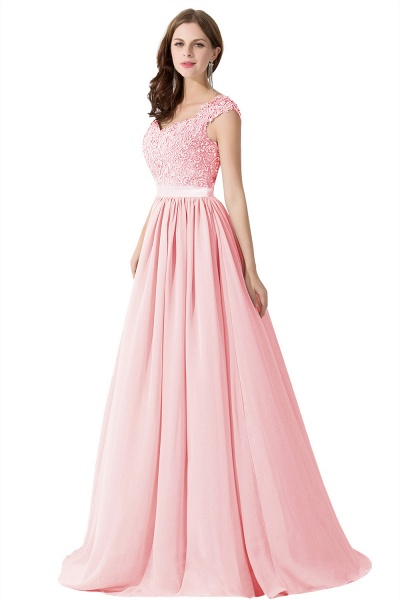 A-line V Neck Appliques Chiffon Bridesmaid Dress_2