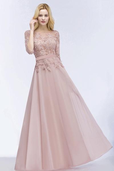 A-line Chiffon Appliques Jewel Half-Sleeves Floor-Length Bridesmaid Dresses with Sash_4