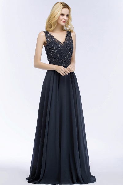 A-line Chiffon Appliques V-neck Sleeveless Floor-Length Bridesmaid Dresses with Crystals_55