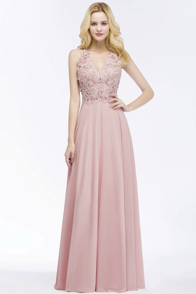 PAM | A-line V-neck Sleeveless Long Appliques Chiffon Bridesmaid Dresses_6