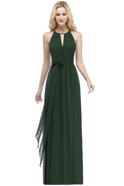 A-line Halter Floor Length Burgundy Bridesmaid Dresses with Bow Sash_8